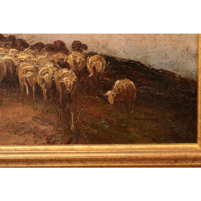 Gold American Barbizon Painting of Sheep at Evening by Francis Wheaton For Sale - Image 8 of 11