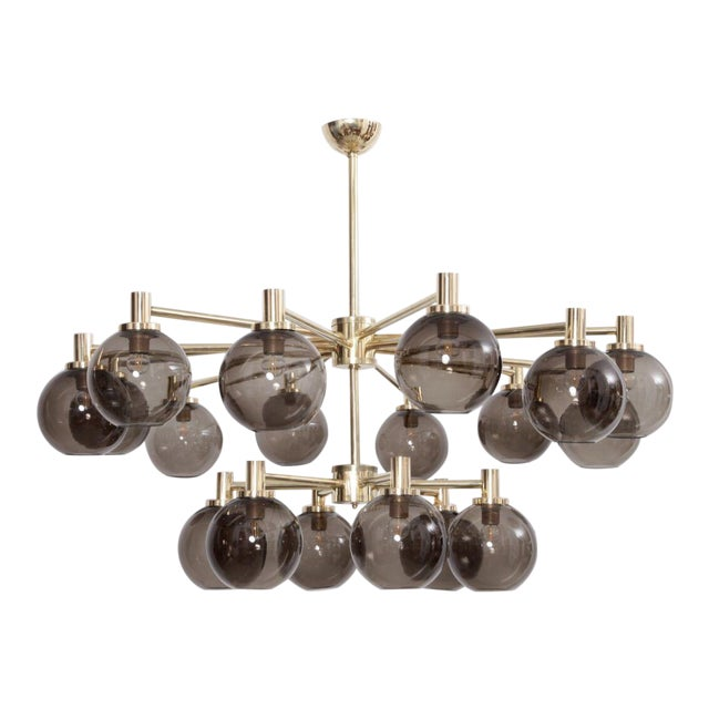 1 of 2 Huge Tinted Glass and Brass Chandelier Attributed to Hans-Agne Jakobsson For Sale