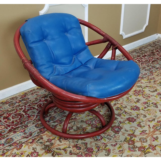 Tremendous Vintage Ficks Reed 1950S Red Rattan Swivel Papasan Chair Unemploymentrelief Wooden Chair Designs For Living Room Unemploymentrelieforg
