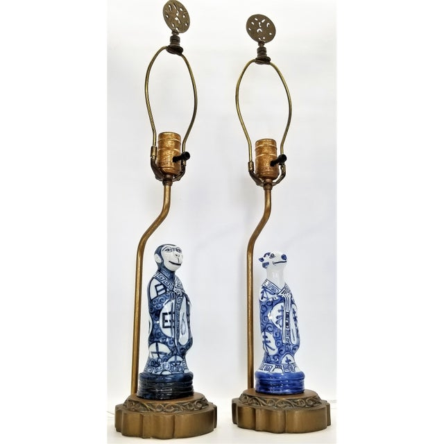 Asian Pair of Vintage Chinese Zodiac Porcelain Figurine Lamps - Asian Chinoiserie Palm Beach Boho Chic Mid Century Bedside For Sale - Image 3 of 13