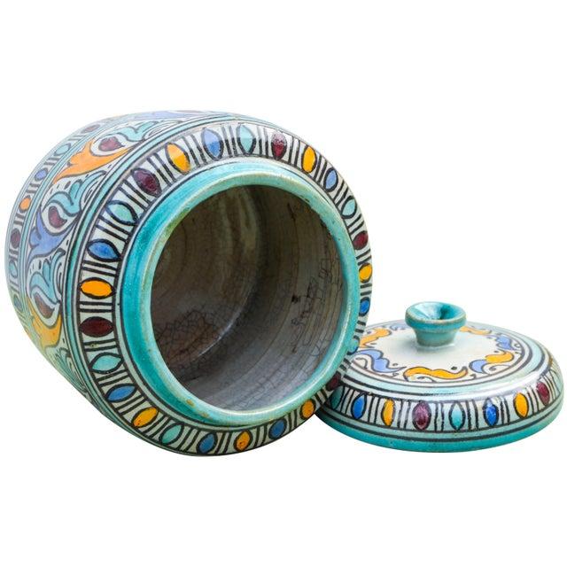 Teal Moorish-Patterned Ceramic Lidded Jar For Sale - Image 8 of 10