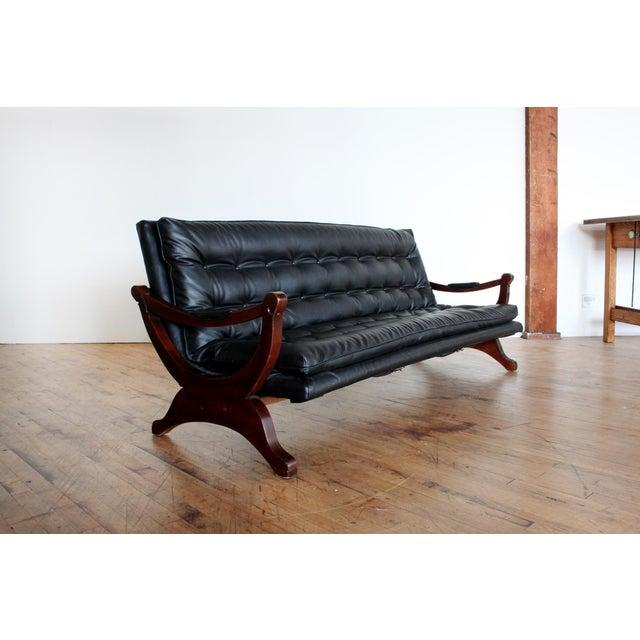 Vintage Black Tufted Sofa- Low Profile - Image 5 of 8