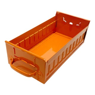 1950s Industrial Card File Drawer by Equipto, Refinished in Tangerine For Sale