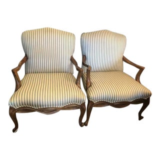 Drexel Heritage French Louis XV Style Wide Seat Bergere Lounge Chairs - a Pair For Sale