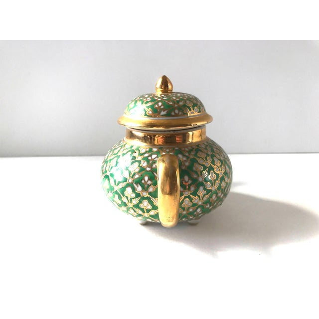 Antique Old Paris Porcelain Green and Gold Teapot For Sale - Image 6 of 10