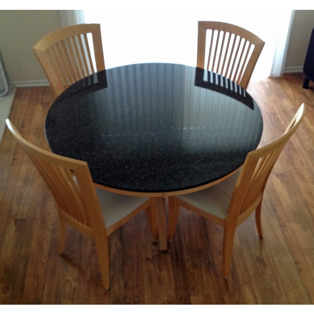 Granite-Top Dinette & 5 Side Chairs - Image 3 of 8