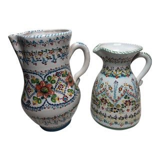 Spanish Hand Painted Pottery Pitchers a Pair For Sale