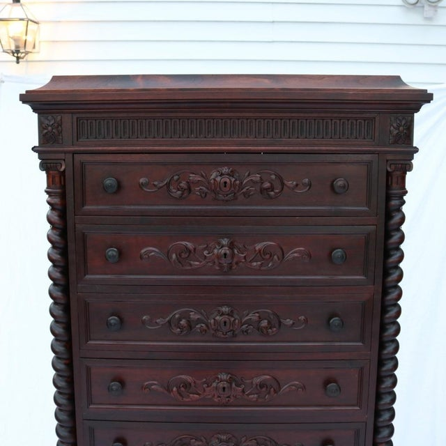 1870 Renaissance Revival Carved Walnut Dresser - Image 4 of 11