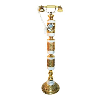 Hollywood Regency Standing Marble and Brass Telephone For Sale