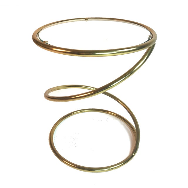 Pace Collection Brass and Glass Spring or Spiral Coffee or End Table For Sale In New York - Image 6 of 6