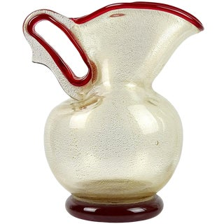 Vintage Barovier Toso Murano Red Gold Flecks Italian Art Glass Pitcher Vase For Sale