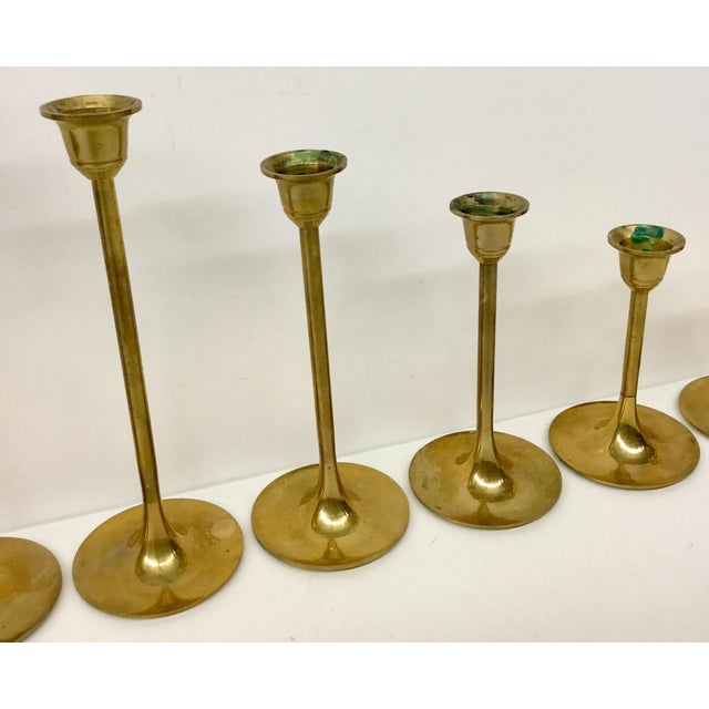 Hollywood Regency Mid Century Vintage Solid Brass Stepping Candle Holders- Set of 7 For Sale - Image 3 of 7