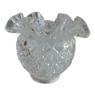 Vintage 1950's Fenton Art Glass Co. Cut Block Crimped Small Vase For Sale