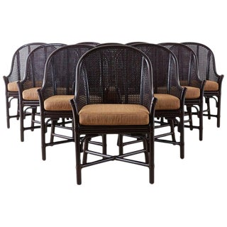 Set of 10 McGuire Rattan Cane Belden Dining Chairs For Sale