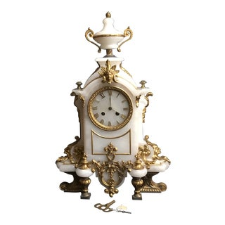 19th Century Louis XVI Style French White Marble Mantle Clock For Sale