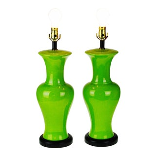 Mid Century Lime Green Glazed Ceramic Table Lamps - a Pair For Sale