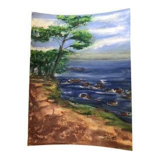"Nancy Smith ""Antibes Coastal Drive"" Original Pastel Seascape Painting For Sale"
