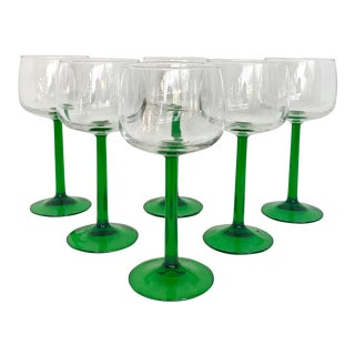 1970's French Green Stemmed Glasses - Set of 6 For Sale