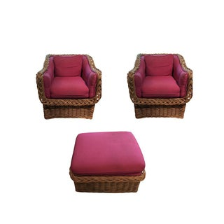 Wickerworks Red Upholstered Chairs & Ottoman - Set of 3