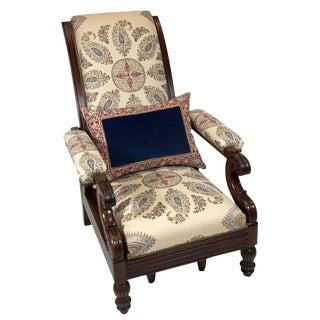 A Rare Mahogany Reclining Armchair With a Pull Out Foot Rest Mechanism With Original Hand-Printed Blue and Red Paisley Linen Upholstery. For Sale