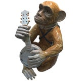 Image of Italian Faience Pottery Sculpture of a Monkey Musician For Sale