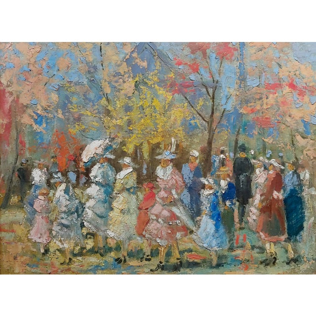 """French French Impressionist """"Ladies With Parasol in an Outdoor Party"""" C.1900s For Sale - Image 3 of 10"""