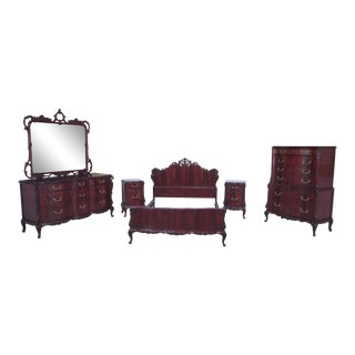 1950s Era Vintage Swan Carved Mahogany Bedroom Set - Set of 6