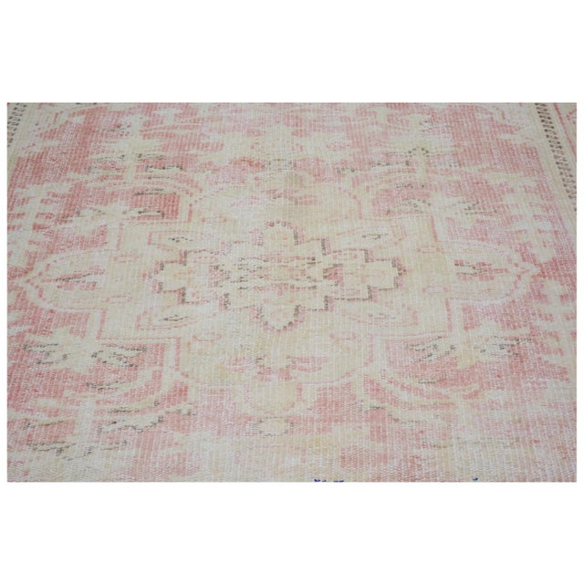"""Shabby Chic Vintage Turkish Anatolian Oushak Hand Knotted Organic Wool Fine Weave Rug,6'7""""x9' For Sale - Image 3 of 6"""