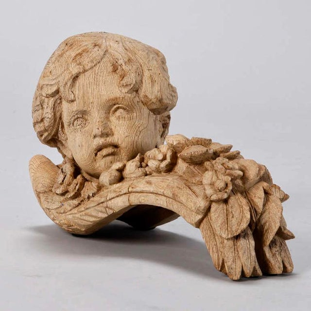 French 19th Century Bleached Oak Carved Cherubs - A Pair For Sale - Image 3 of 9