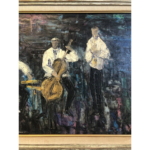 Oil painting on canvas. Subject: jazz musicians. Beautifully framed in vintage wood frame with gold trimmed beveled linen...