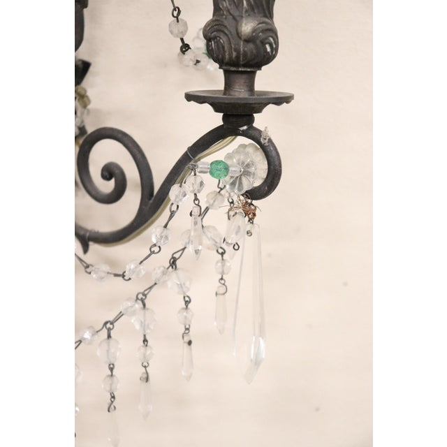 20th Century Italian Bronze and Colored Crystals Swarovski Wall Light or Sconces For Sale - Image 4 of 7