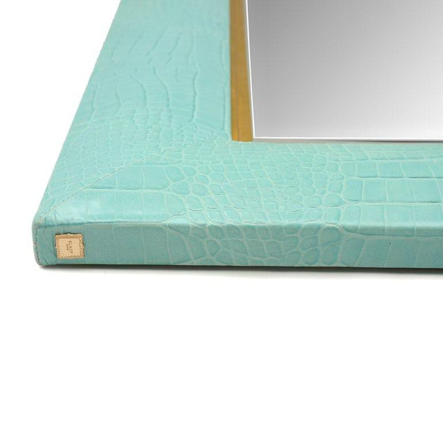 Contemporary Turquoise Crocodile Embossed Leather Mirror For Sale - Image 3 of 5