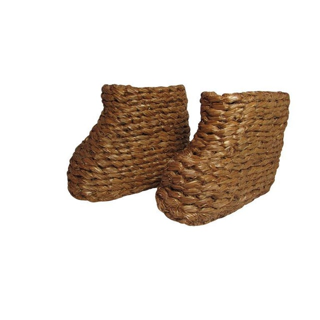 """Boho Chic WWII """"Strohschuhe"""" Hand-Braided Snow Over Boots - a Pair For Sale - Image 3 of 5"""