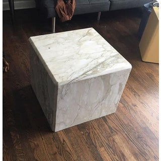 Modern White and Gold Marble Cube Preview