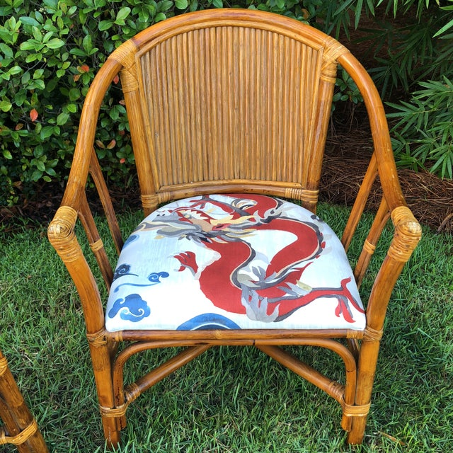 Carleton Varney Fabric Upholstered Bamboo Arm Chairs - a Pair For Sale - Image 4 of 12
