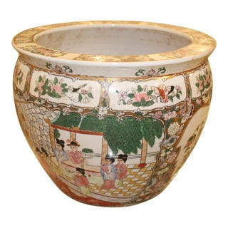 Vintage Mid Century Chinese Porcelain Planter For Sale