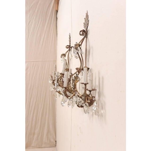 Pair of Mid-Century Seven-Light Crystal and Iron Sconces With Leaf Crest Tops For Sale In Atlanta - Image 6 of 11