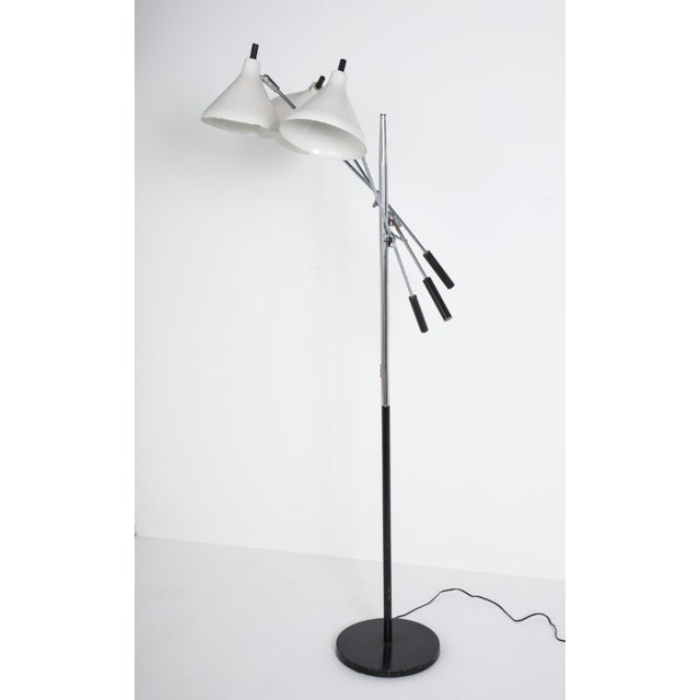 White and Chrome Floor Lamp With Three Heads For Sale - Image 12 of 13