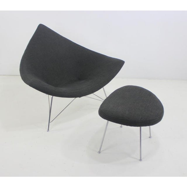 """Iconic 1st generation """"Coconut """" chair and ottoman designed by George Nelson for Herman Miller. 1956. Fiberglass shell,..."""