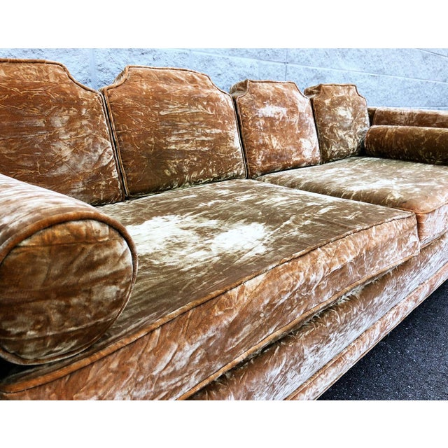 Mid Century Gold Crushed Velvet Rolling Sofa For Sale - Image 4 of 11
