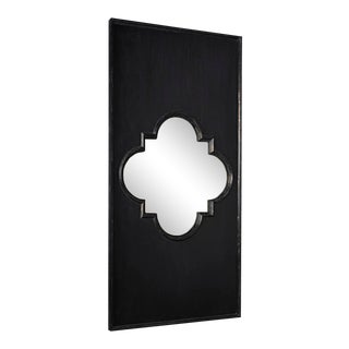 Good Luck Mirror, Hand Rubbed Black w/ Gold Trim For Sale