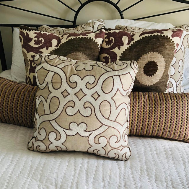 """Scalamandre Damascus Embroidery Square 18"""" Pillows (3 Available) For Sale - Image 11 of 13"""