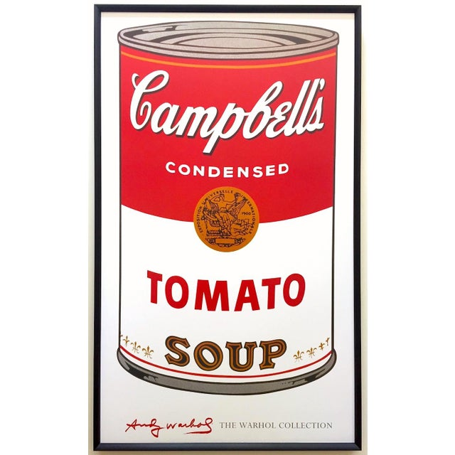 """Andy Warhol Foundation Vintage Large Framed Lithograph Print Iconic Pop Art Poster """" Campbell's Soup I ( Tomato ) """" 1968 For Sale - Image 13 of 13"""