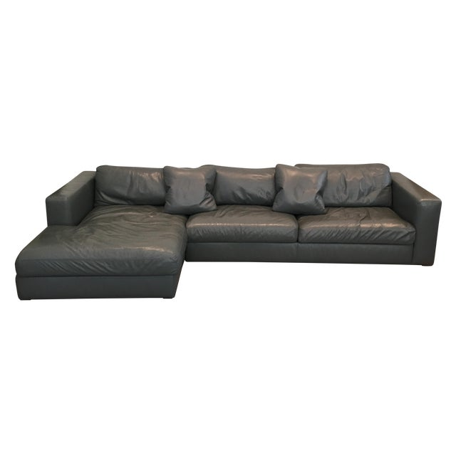 Reid Sectional Chaise in Slate Leather - Image 1 of 7