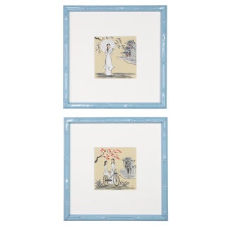 "1970s Vintage ""Village Life"" Framed Vietnamese Signed Paintings - A Pair For Sale"