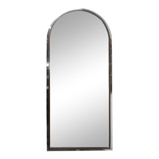 Polished Steel and Brass Arched Shaped Mirror For Sale