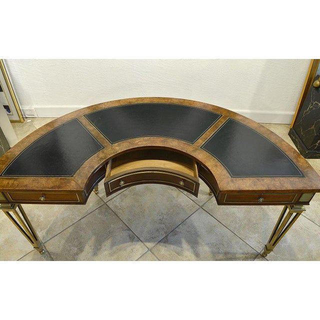 Mid 20th Century Exceptional Midcentury Semi Circular Brass and Burled Wood Desk by Mastercraft For Sale - Image 5 of 13