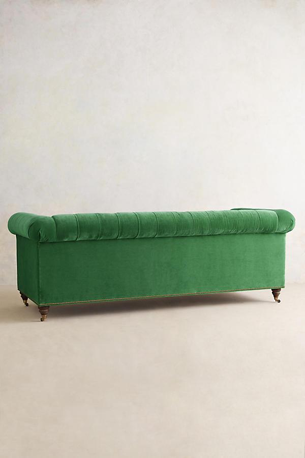 Anthropologie Velvet Green Chesterfield Sofa   Image 3 Of 3