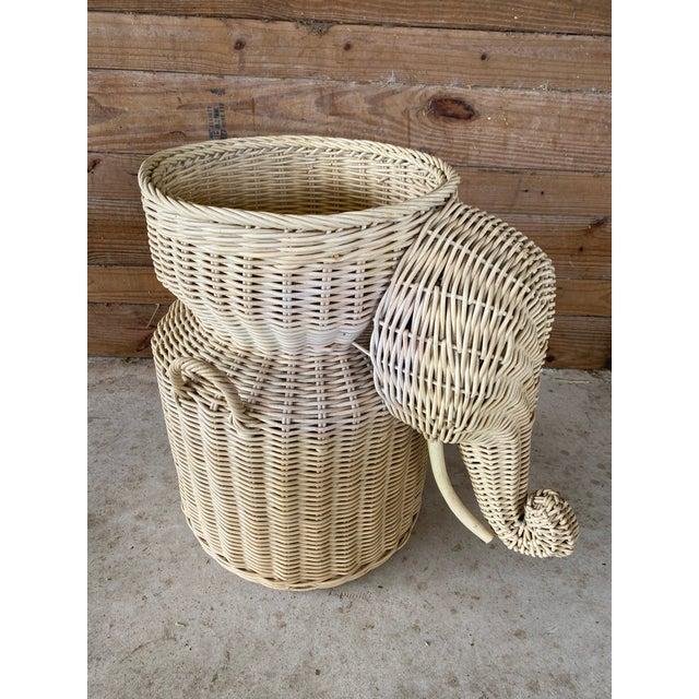 Vintage Coastal Wicker Elephant Basket For Sale - Image 13 of 13