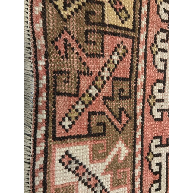 "Vintage Square Pattern Turkish Oushak Rug - 4'2"" x 6' - Image 7 of 11"